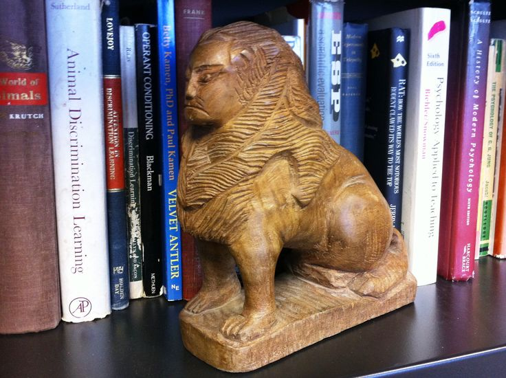 Hand-carved wooden sphinx