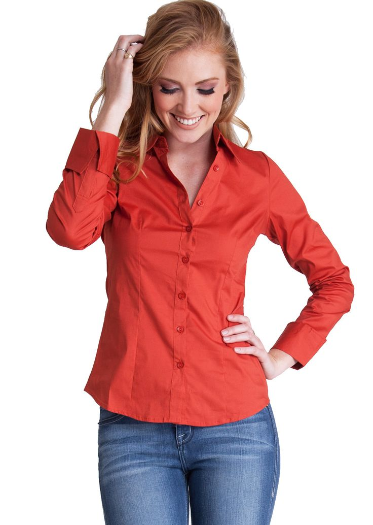 Tailored Long Sleeve Shirt T2936RT, clothing, clothes, womens clothing, jeans, tops, womens dress
