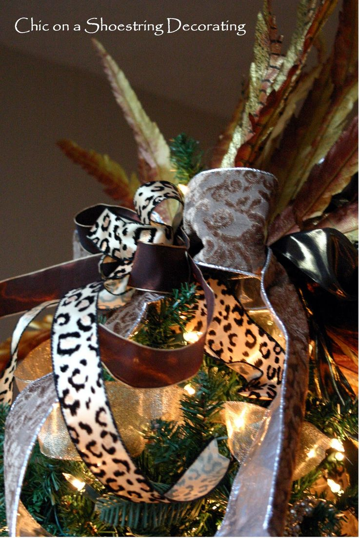Chic On A Shoestring Decorating: My Fancy Christmas Tree With A Touch Of Leopard  Print