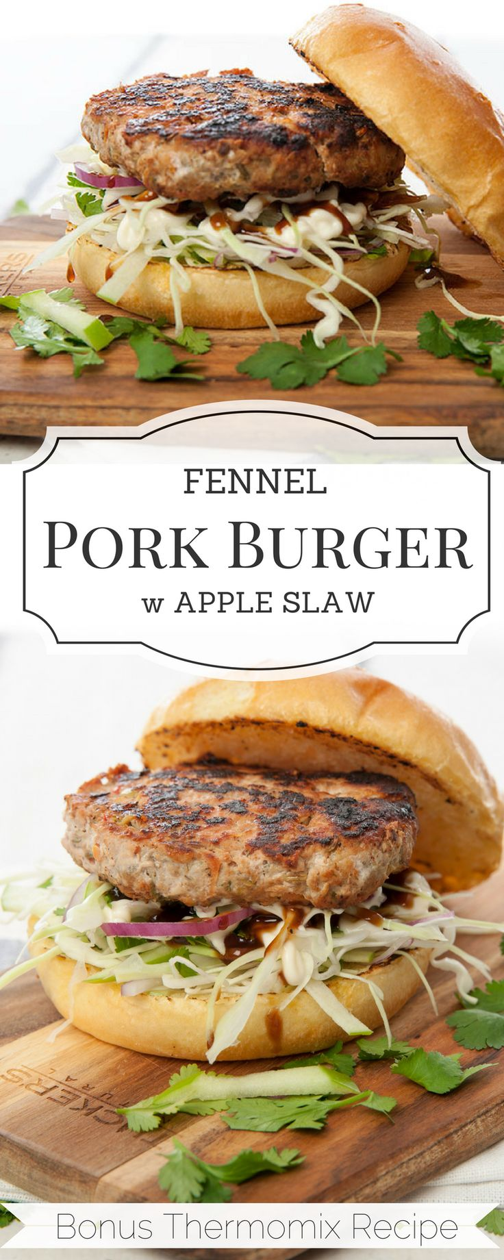 Delicious Fennel & Pork Burgers make the perfect healthy week night meal. Loads of hidden vegetables for fussy eaters. Thermomix and conventional recipe included. #burger #thermomix #porkburger