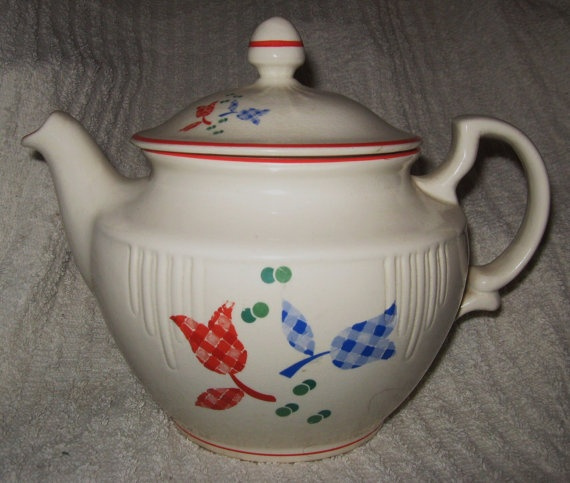 rare HARKER CALICO TULIP teapot 8 cup hotoven by Jimmtyre on Etsy,