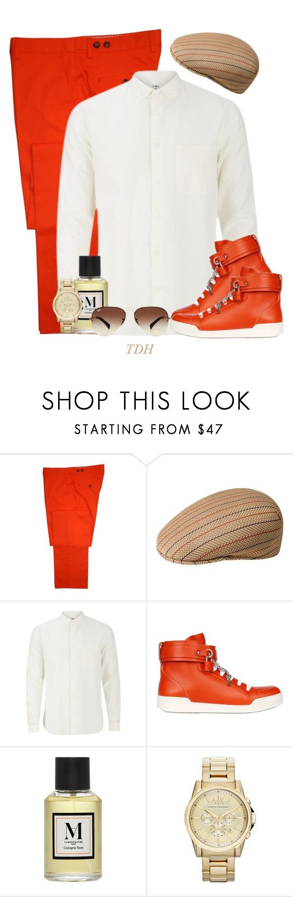 """""""Date Night with Him"""" by talvadh ❤ liked on Polyvore featuring Gresham Blake, kangol, YMC, Dsquared2, Armani Exchange, Ray-Ban, men's fashion and menswear"""