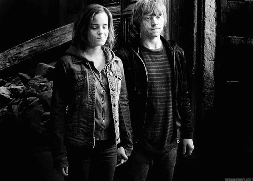 After years of buildup, Hermione and Ron finally get together in the Deathly Hallows.