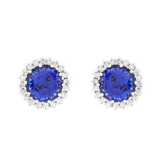 18 carat white gold tanzanite and white gold earrings