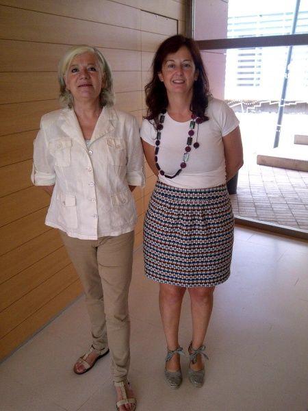 Angeles Ferrer, directora del Servicio de Biblioteca y Aurora-Gómez Pantoja, subdirectora de Coordinación Técnica durante el Springer Author Seminar, celebrado en Badajoz el 22 de octubre 2013. #bibliotecarios #uex