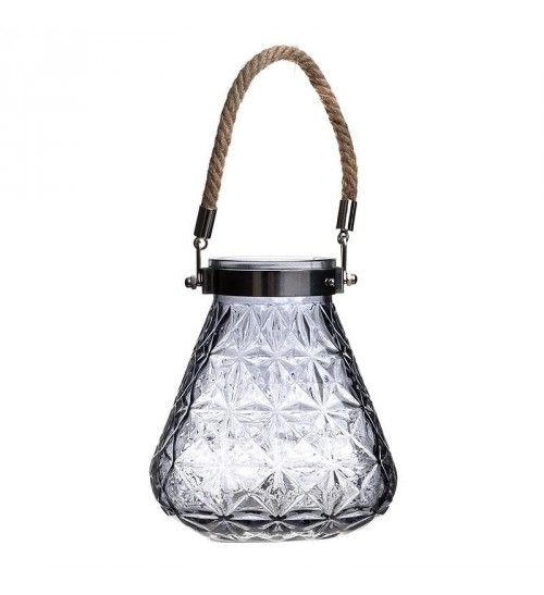 GLASS VASE IN TRANSP BLACK W_HANDLE 15X15X16_30