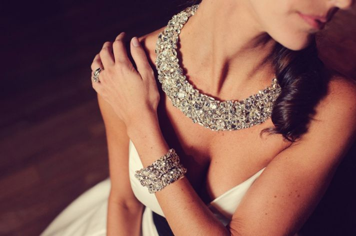 Chunky, sparkly statement necklace & cuff, perfect for the glammed up bride: Crystals Wedding, Statement Necklaces, Diamonds, Wedding Jewelry, Wedding Necklaces, Bridal Jewelry, Swarovski Crystals, Bling Wedding, Bibs Necklaces