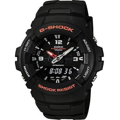 Mens G-shock Ana Digi Watch Dual Time Molded Resin Case Band Black Red Adult New