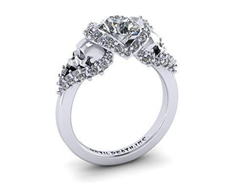 Nice Skull Engagement Ring made in k White Gold with White Diamonds