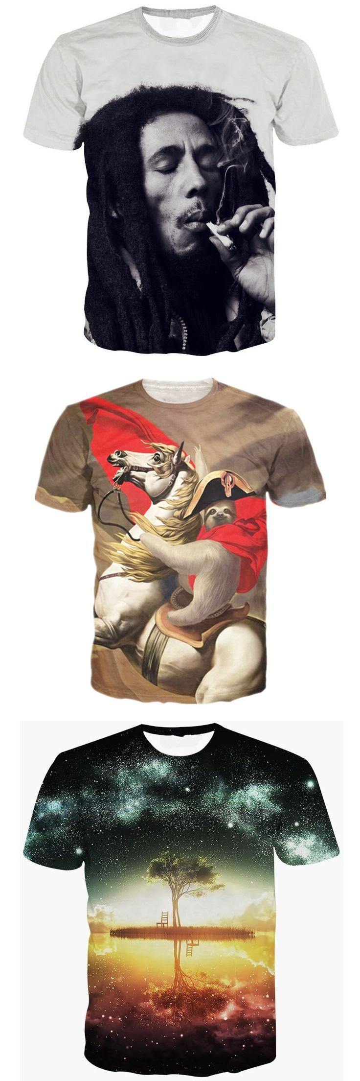 Bob Marley T-shirt Men Women Harajuku 3D Print T-shirt Funny Brand Clothing Summer Tops Tees Hip Hop T Shirts Dropship