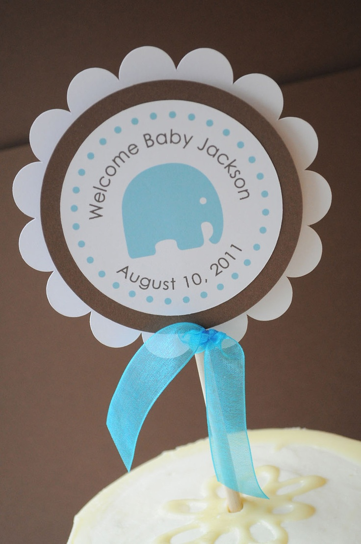 Baby Boy Shower Themes Elephants ~ Boy baby shower cake topper elephant theme personalized
