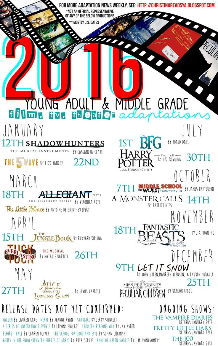 2016 Young Adult Adaptations! Here I go over books being made into movie, theater, & tv show adaptations for 2016  ##2016youngadultadaptations #booktomovieadaptations #youngadult #booktube #books #shadowhunters #the5thwave #allegiant #thelittleprince #thejunglebook #tuckeverlasting #alicethroughthelookingglass #thebfg #harrypotterandthecursedchild #middleschooltheworstyearsofmylife #amonstercalls #fantasticbeastsandwheretofindthem #letitsnow #missperegrineshomeforpeculiars