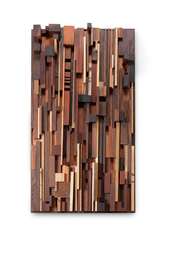 Reclaimed Wood Wall Art. Might try this with the scraps from the reclaimed wood table.