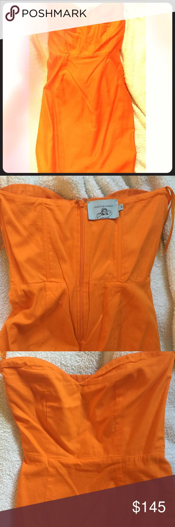 Strapless Orange cotton Judith March dress NWOT Stunning strapless orange cotton Judith March dress. High quality & impeccable design. Fully lined (shown inside out in 3rd pic to show quality of craftsmanship), boning, darts. This size S dress fits a smaller chest best. NWOT. Judith March Dresses Strapless