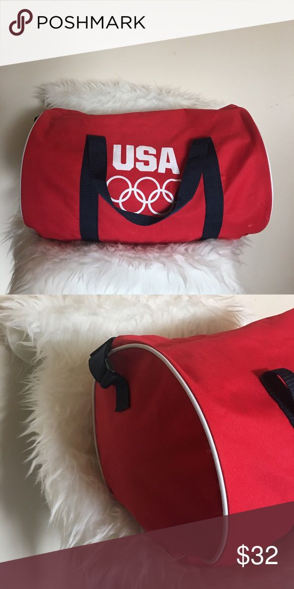Vintage 80's Olympic cylinder gym bag Vibrant red/white USA 1980's Olympic gym bag. Cylindrical shape, white piping, black straps. Pristine condition. Vintage Bags Totes