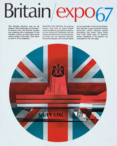 Cover for the Brochure promoting the British Pavilion at Expo67, Montreal, 1967.