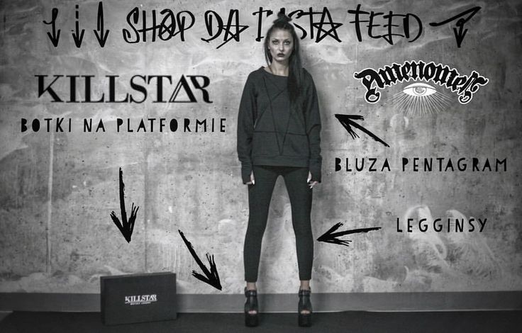Kupuj na insta‼️ 🛒klikaj w link profilu🛒 •bluzka #amenomen #pentagram •#legginsy basic black #amenomen #rockmetalshop #killstar #shoes #boots #alternativegirl #tattoo