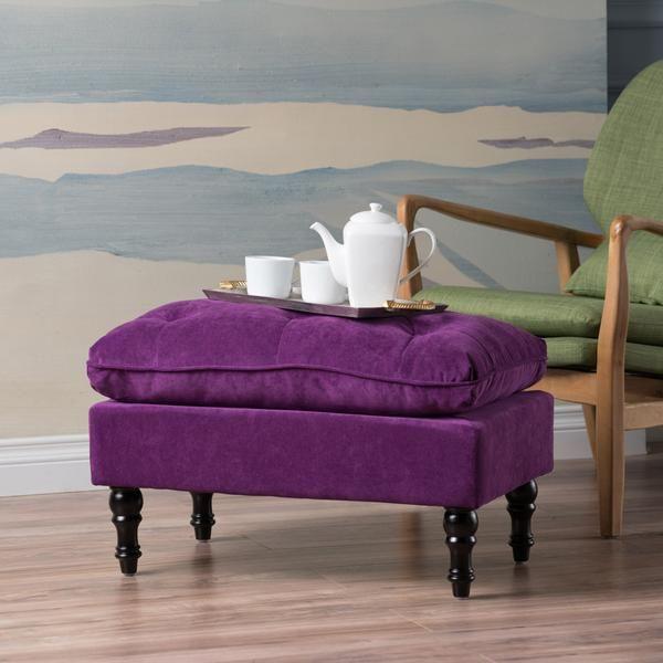 Cordoba Purple Velvet Ottoman Footstool Ottoman Footstool