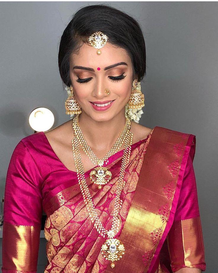 "237 Likes, 2 Comments - Tie The Thali (@tiethethali) on Instagram: ""Blushing bride in her manvarai saree. #MakeupMonday || MUAH:@thiva_mua || #Tamil #Saree #Wedding…"""