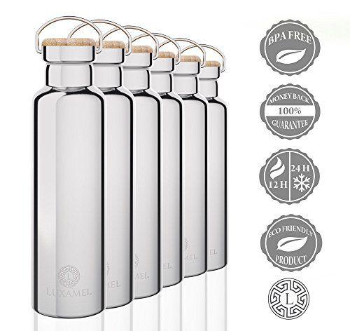 Trinkflasche Edelstahl, doppelwandige Edelstahl Wasserflasche 24 Stunden kalt & 12 hei� - 600ml gl�nzend - BPA frei
