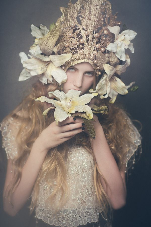 Alphonse Mucha inspired Editorial Fashion Shoot. Lilies, gold lace an pearls headpiece.