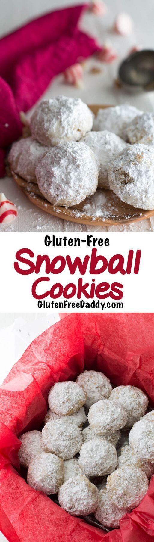 These gluten-free snowball cookies are my favorite Christmas cookie of all time. Only 5 ingredients, plus the secret filling and powdered sugar. I love the walnut flavor of the cookies and not knowing what secret filling I will get. AD