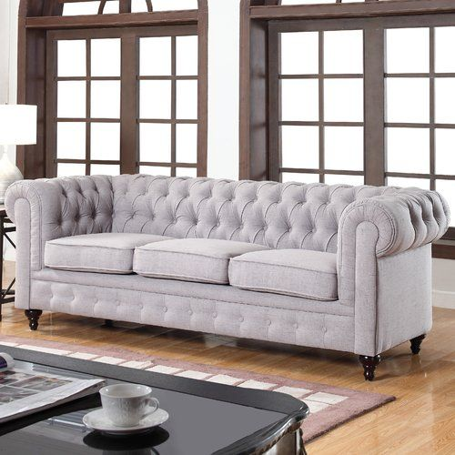 Found It At AllModern   Solstice Classic Tufted Linen Fabric Chesterfield  Sofa