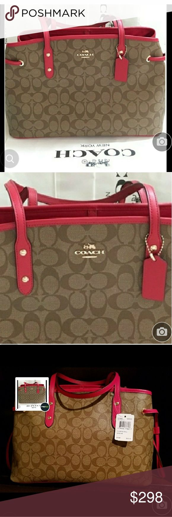 100% Authentic Beautiful brand new Coach handbag Gorgeous condition ..absolutely brand new still with tags never used! Lots of room! Also comes with dust bag. Also Victoria's Secret freebies with any purchase Coach Bags Shoulder Bags