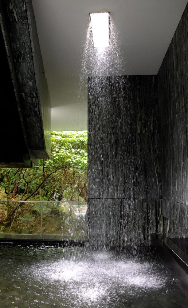 A ceiling water fall at Asia Society Hong Kong Center