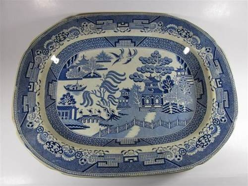 Vintage Antique Blue Willow Platter Marked Stone China And