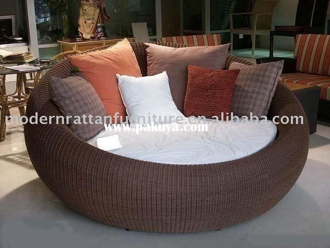 Round Patio Lounge Chair Both Flat And Round Rattan