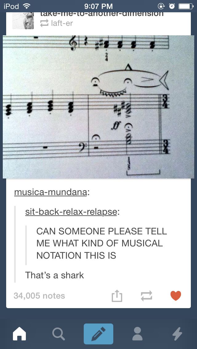 Hahahahagahah there's a musical note that's called a shark get it!