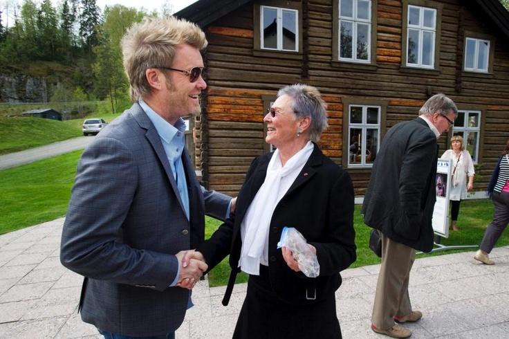 From the opening of Blaafarveværket, summer 2012. Magne Furuholmen and director Tone Sinding Steinsvik.