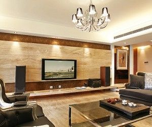 Wood paneling entertainment wall lounge