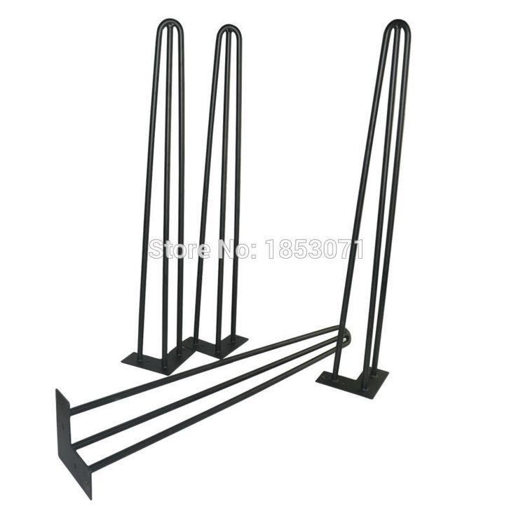 "Free shipping -28"" hairpin legs - matte black - set of 4 - dining table steel legs, furniture legs, iron table legs"