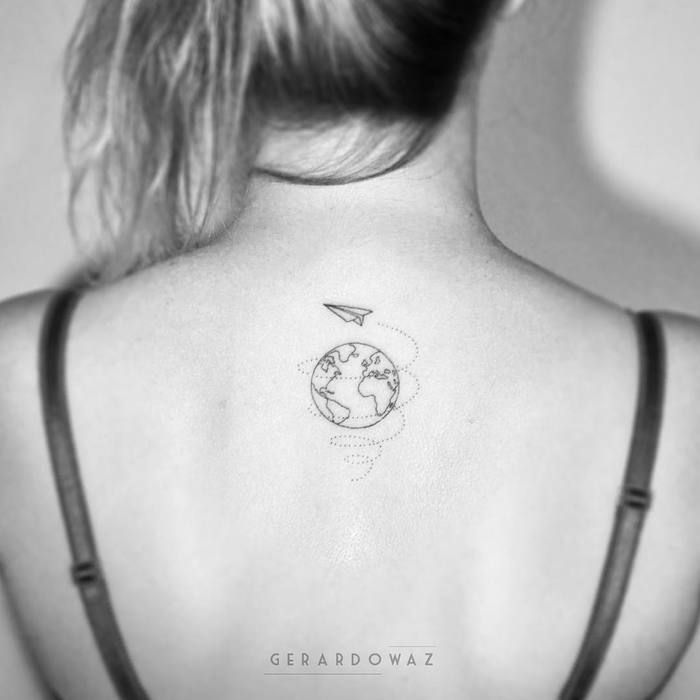 Simple Earth Tattoo on Back by gerardowaz