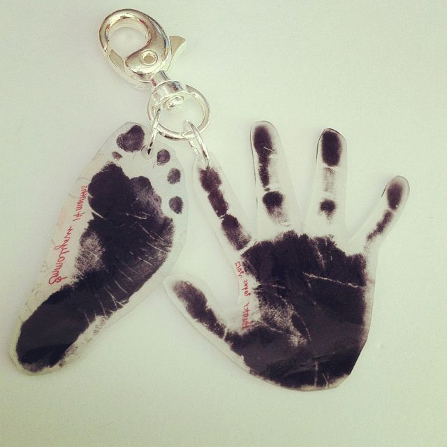 Keychain made for father's Day with the kids. (Emmalynn's footprint and Hunter's handprint) made with Shrinky Dinks.