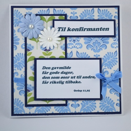 Kort til konfirmant nr 09 Handmade card