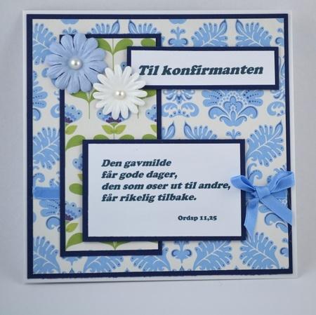 Kort til konfirmant nr 09 Handmade card