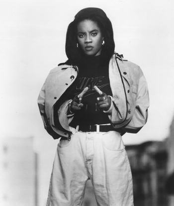 Do you understand the metaphoric phrase 'Lyte as a Rock?' It's explaining, how heavy the young lady is. The one and only Mc Lyte #HipHop
