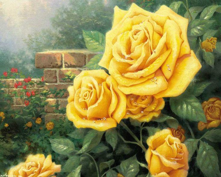 Скачать обои  цветы, жёлтые розы, Thomas Kinkade 1280x1024