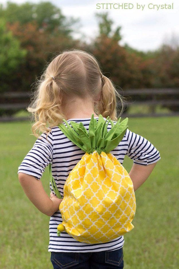 Easy Sewing Projects to Sell - Pineapple Drawstring Backpack - DIY Sewing Ideas for Your Craft Business. Make Money with these Simple Gift Ideas, Free Patterns, Products from Fabric Scraps, Cute Kids Tutorials