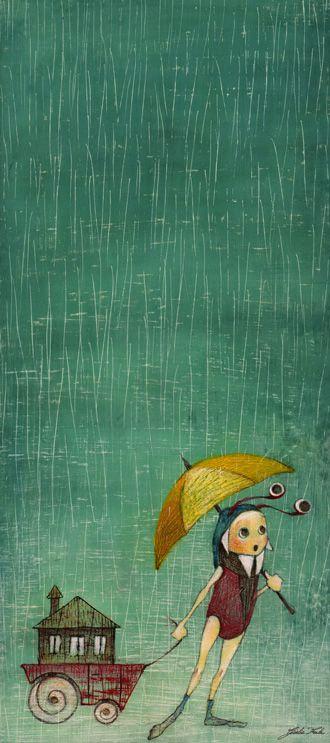 Giulia Ferla - Come Piove! - Ecoline, Acrilici e Matite Colorate su Carta stuccata