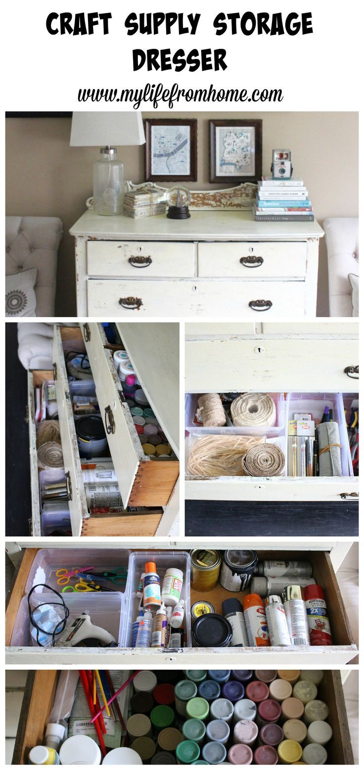 Craft supplies a mess?  Think outside the the box for craft supply organization.  Using a piece of furniture, I diy'd a craft supply storage dresser by http://www.mylifefromhome.com