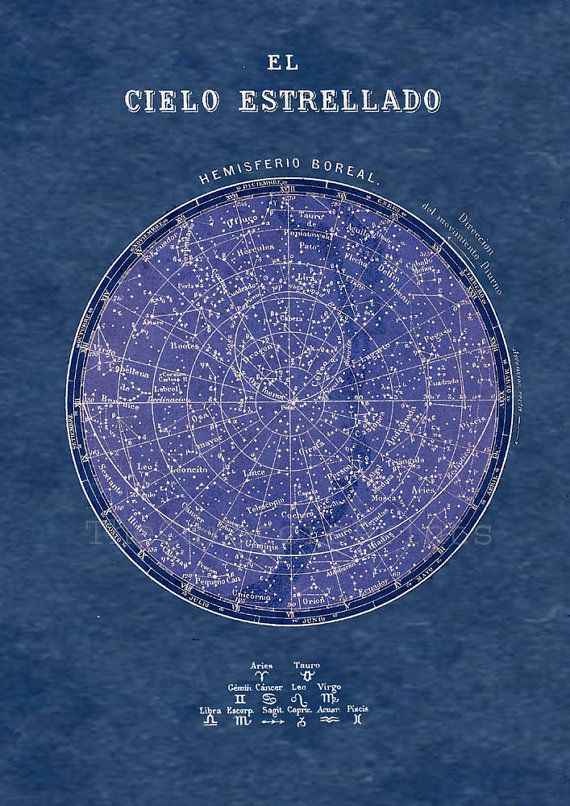 Celestial Chart Stars Northern Hemisphere by TheCuratorsPrints, $22.00