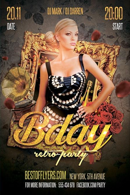 Retro B-Day Party Free Flyer Template Free PSD Flyers Birthday