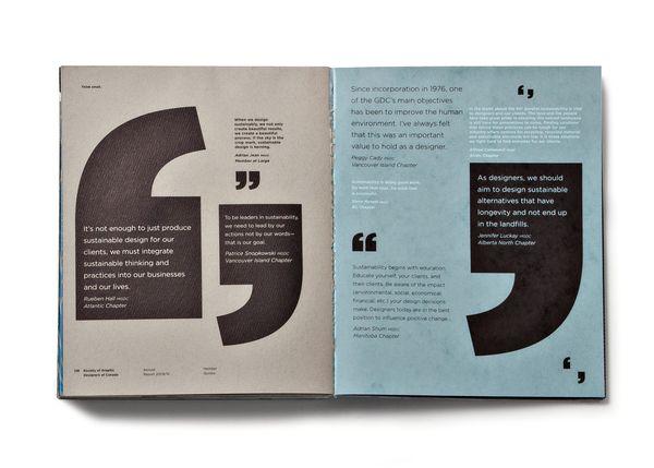 La conception et la création du rapport annuel du GDC (Sociétés des Designers Graphiques du Canada)...