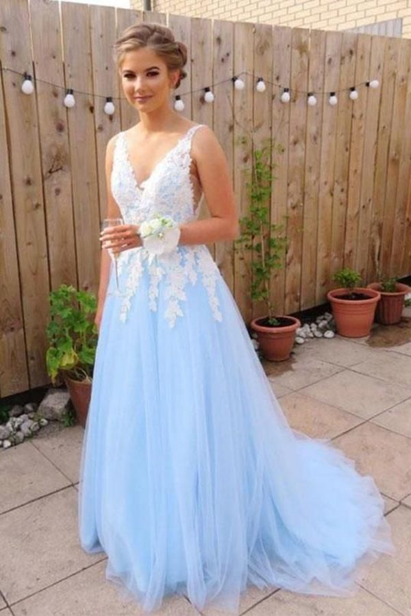 Incredibly Browse Our Large Selection of Prom Dresses, Shop Light Sky Blue V Neck Long Tull…