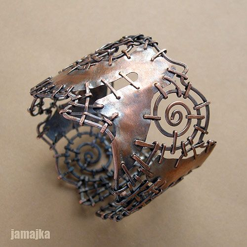 """Stitched"" Bracelet | Jamajka Designs.  Copper"