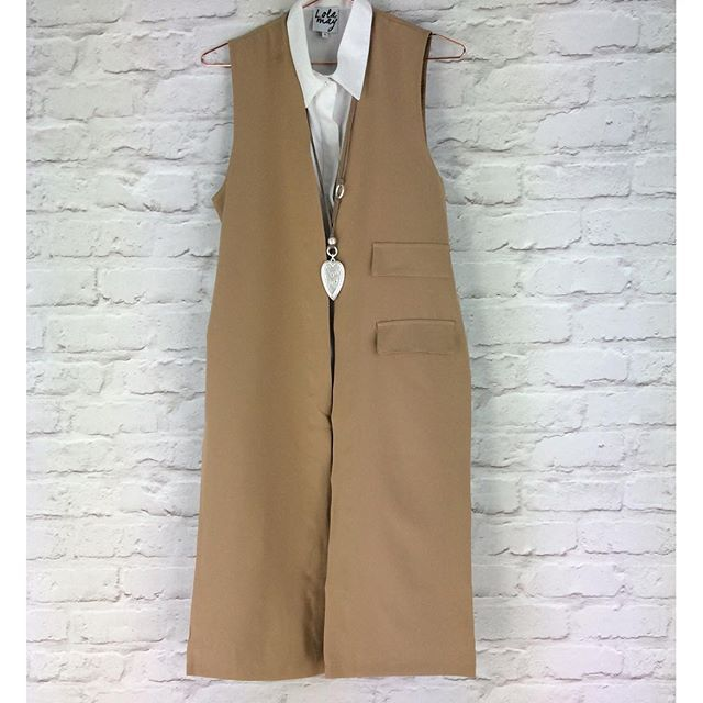 Stunning camel waistcoat shown here with our NEW white shirt dress. #new #season visit us online and instore www.pinkcadillac.co.uk
